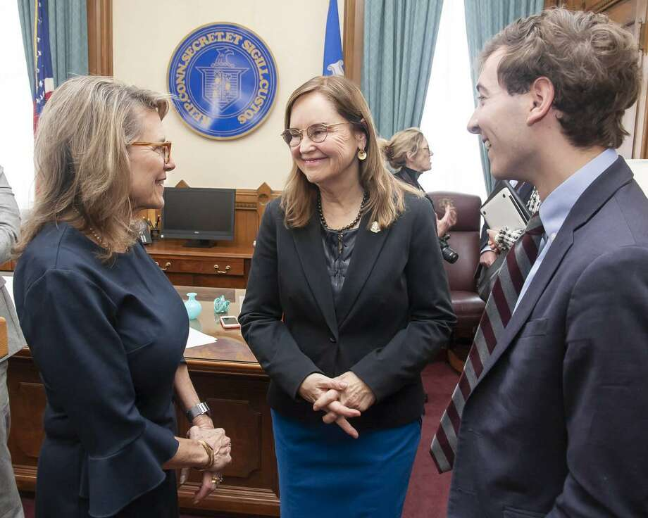State Senator Julie Kushner (D-24th), left, speaks with Secretary of the State Denise Merrill and state Senator Will Haskell (D-26th) following a Jan. 15 press conference regarding early voting in Connecticut. Photo: Courtesy Of State Senator Julie Kushner / The News-Times Contributed