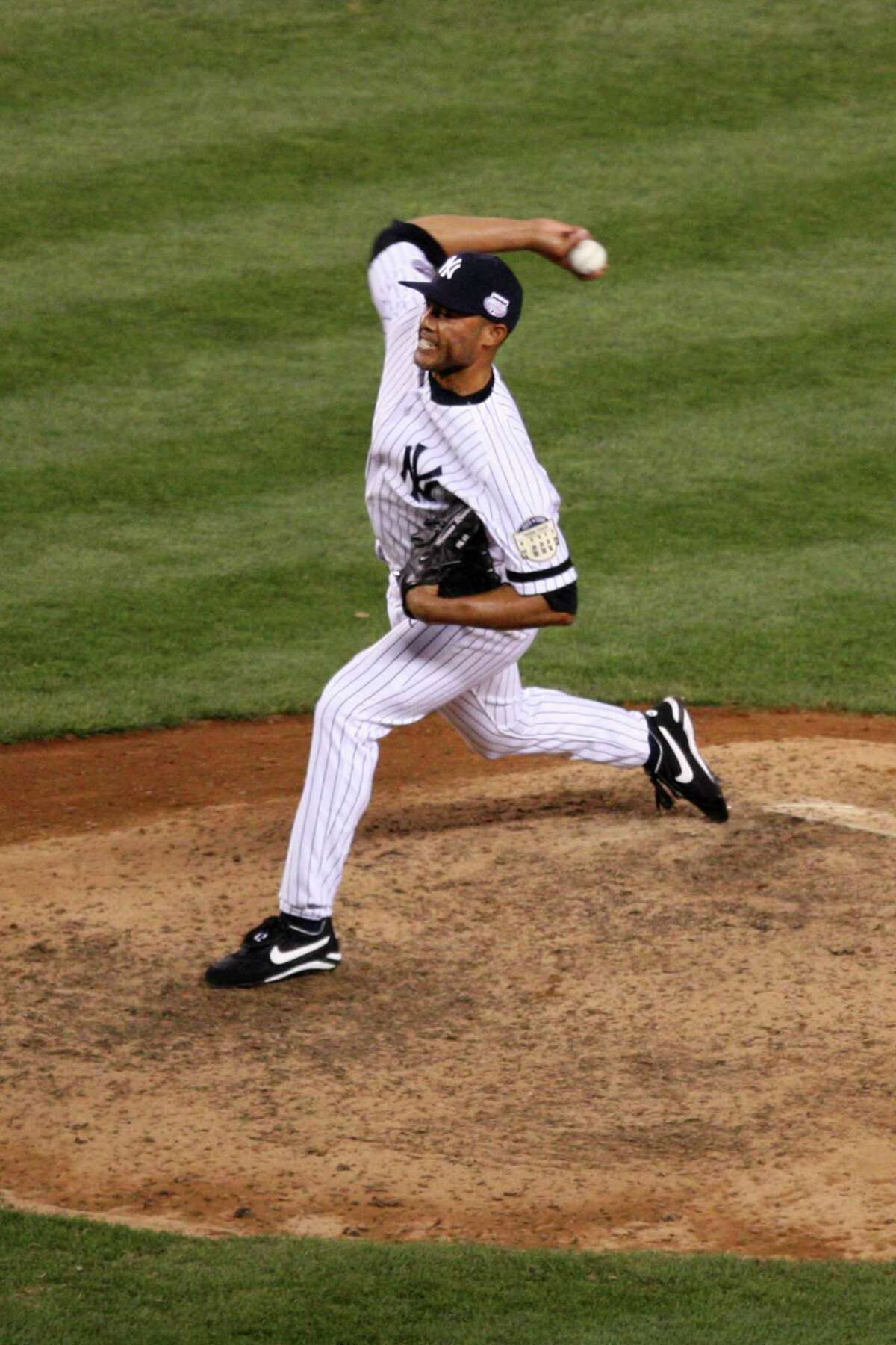 Mariano Rivera of the New York Yankees pitches in the ninth inning of the 79th Major League Baseball All-Star Game at Yankee Stadium in the Bronx on Tuesday, July 15, 2008.