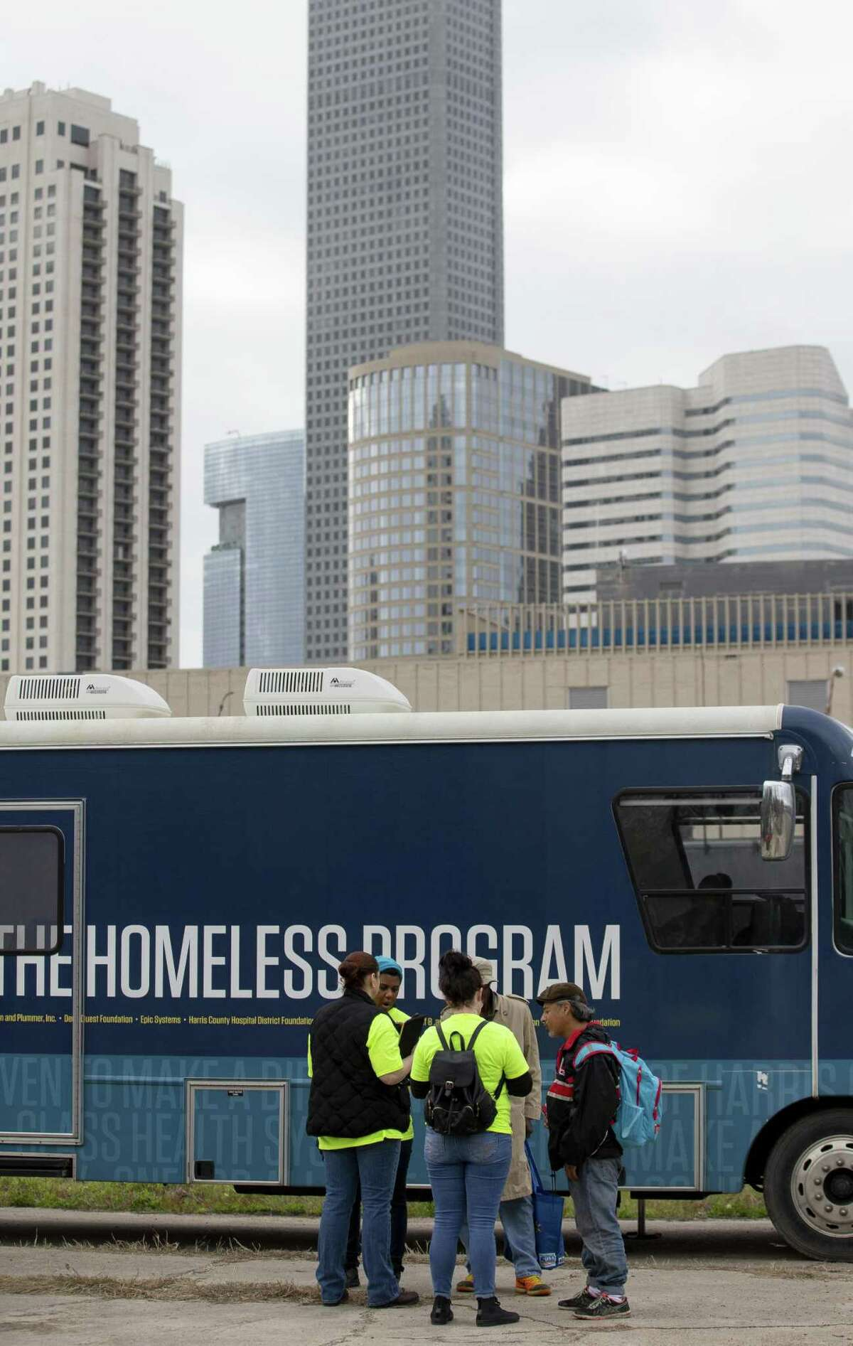 Volunteers and staff from the Houston Coalition for the Homeless and The Way Home connected with the homeless population for the annual homeless count Tuesday, Jan. 22, 2019, in Houston.