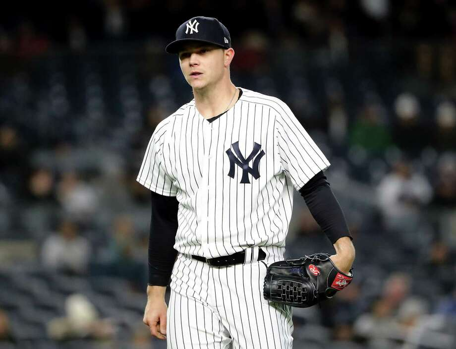 NEW YORK, NY - APRIL 20:  Sonny Gray #55 of the New York Yankees reacts as he walks off the field at the end of the third inning against the Toronto Blue Jays at Yankee Stadium on April 20, 2018 in the Bronx borough of New York City.  (Photo by Elsa/Getty Images) Photo: Elsa / 2018 Getty Images