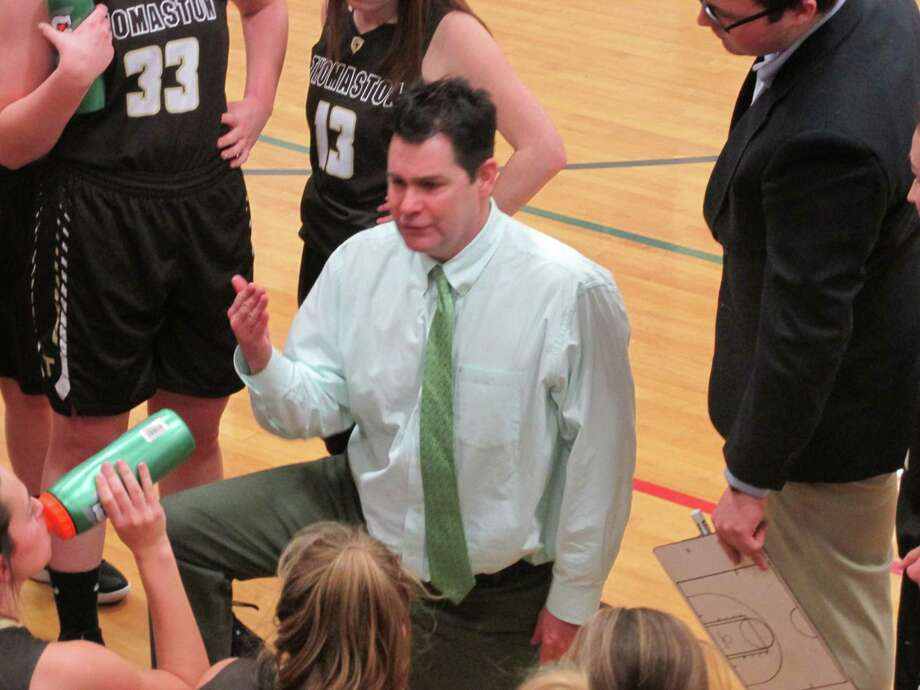 Thomaston coach Bob McMahon proved his young team has come a long ways with a resounding win at Lewis Mills High School Tuesday night. Photo: Peter Wallace / Hearst Connecticut Media