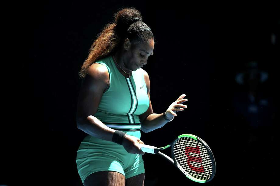 MELBOURNE, AUSTRALIA - JANUARY 23:  Serena Williams of the United States reacts in her quarter final match against Karolina Pliskova of Czech Republic during day 10 of the 2019 Australian Open at Melbourne Park on January 23, 2019 in Melbourne, Australia.  (Photo by Mark Kolbe/Getty Images) Photo: Mark Kolbe / 2019 Getty Images