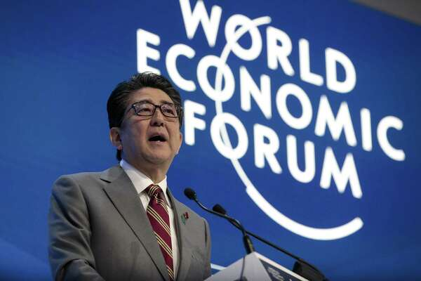 Shinzo Abe, Japan's prime minister, delivers a speech during a special address on day two of the World Economic Forum in Davos, Switzerland, on Jan. 23, 2019.