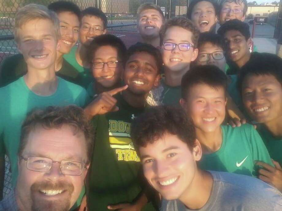 Dow High boys' tennis coach Terry Schwartzkopf (bottom left) is pictured withhis team during the 2018 season. (Photo provided)