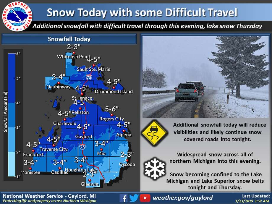 A winter storm system lifting up across the eastern Great Lakes will generate a round of snowfall and generate some difficult travel across northern Michigan through tonight. Lake snow developing on the backside of the exiting system, will target favored westerly flow snow belt regions of Lake Michigan and Lake Superior Thursday. Photo: National Weather Service Grand Rapids