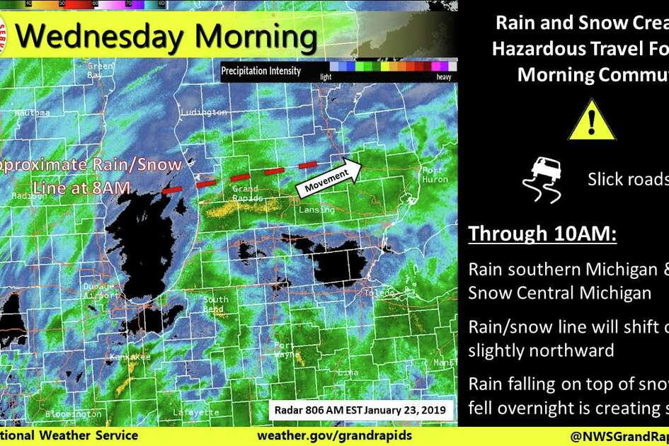 Snow and rain falling on top of snow that fell overnight will continue to cause travel issues for the morning commute.