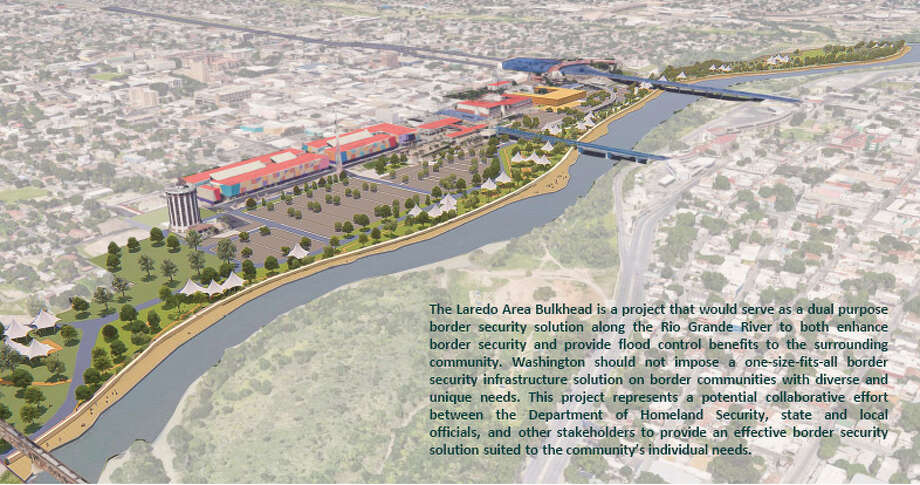The city presented their ideal version of a barrier in Laredo on Tuesday. This rendering shows their vision of a retaining wall along the river. Photo: Courtesy