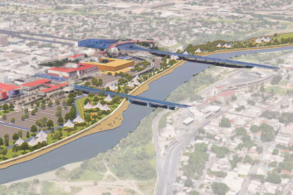 This rendering shows the Laredo Area Bulkhead, a retaining wall, along the river; almost a reverse wall, with park space and development leading up to a 15-or-so-foot drop down to the Rio Grande and an adjacent pedestrian path that Border Patrol could use.