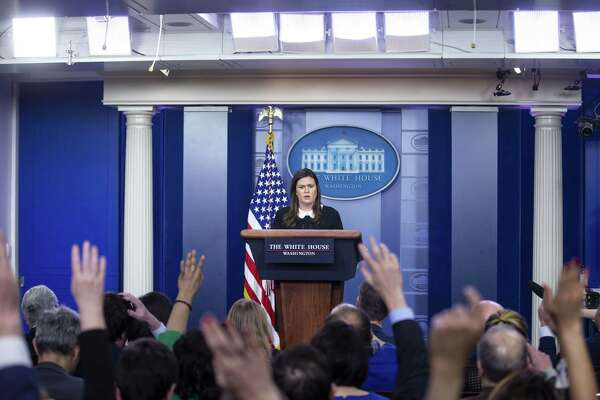 White House press secretary Sarah Huckabee Sanders speaks during a White House press briefing in Washington, D.C., on Dec. 18.