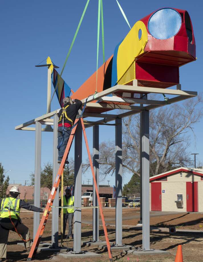 Crews work 01/23/19 to place the refurbished airplane playground equipment at Dennis the Menace Park. The old structure is being placed as a monument to the history of the park and will not be accessible to children to play on. Tim Fischer/Reporter-Telegram Photo: Tim Fischer/Midland Reporter-Telegram