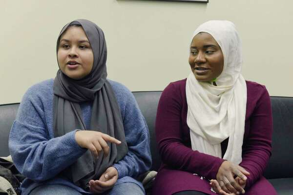 Nusrat Bhuiyan, left, MSA president, and Nana-Hawwa Abdul-Rahman, MSA vice-president, talk about their work to get an imam chaplain on campus during an interview at the University at Albany on Wednesday, Jan. 23, 2019, in Albany, N.Y. (Paul Buckowski/Times Union)