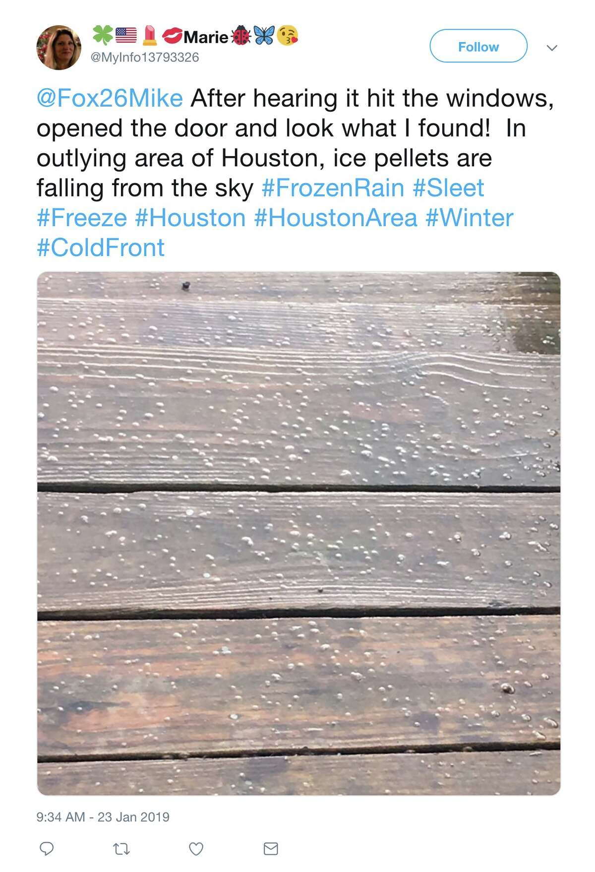 @MyInfo13793326 on Twitter: @Fox26Mike After hearing it hit the windows, opened the door and look what I found! In outlying area of Houston, ice pellets are falling from the sky #FrozenRain #Sleet #Freeze #Houston #HoustonArea #Winter #ColdFront