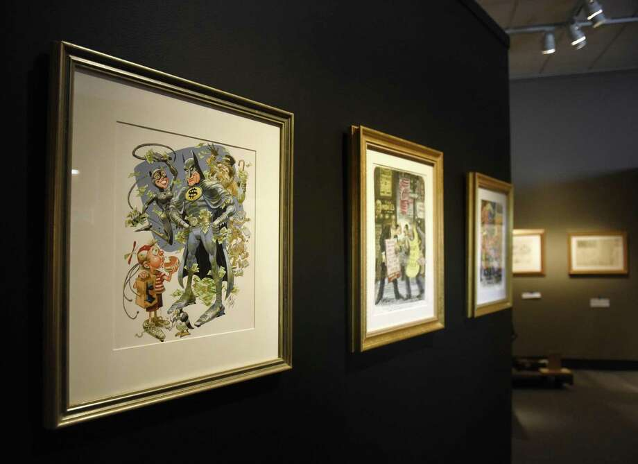"Saturday is the last day to view the exhibit ""Masterpieces from the Museum of Cartoon Art"" at the Bruce Museum in Greenwich. More than 100 original works ranging from the 1880s to present day are on display, including classic ""Peanuts,"" ""Doonesbury"" and ""Calvin & Hobbes"" pieces. Photo: Tyler Sizemore / Hearst Connecticut Media / Greenwich Time"