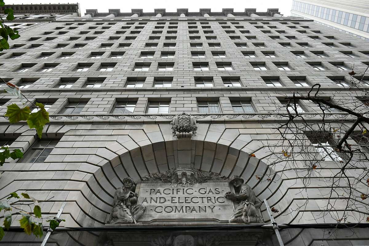 A sign is seen on the facade of PG&E's headquarters in San Francisco, CA, on Monday January 14, 2019.