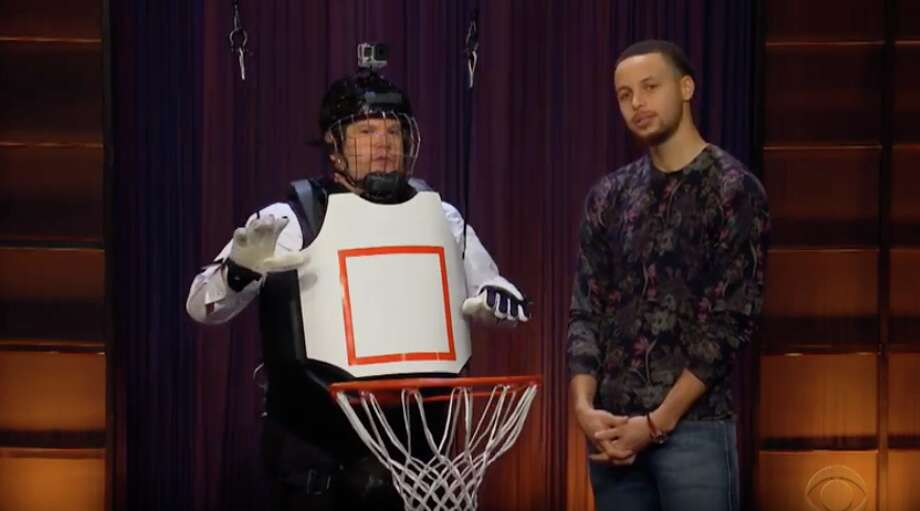 "Stephen Curry on ""The Late Late Show"" with host James Corden. Photo: The Late Late Show"