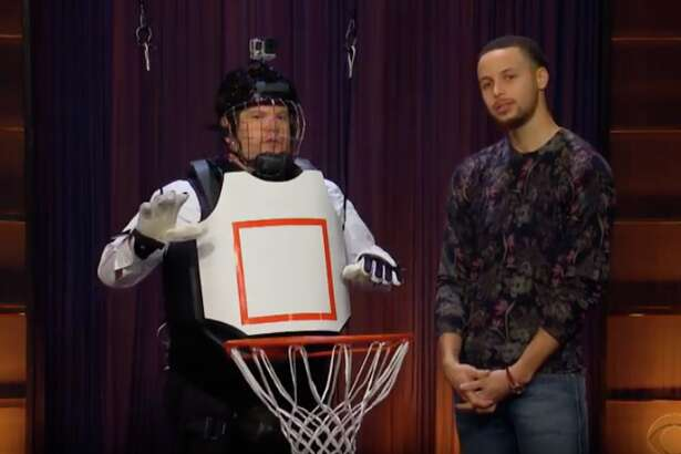 """Stephen Curry on """"The Late Late Show"""" with host James Corden."""