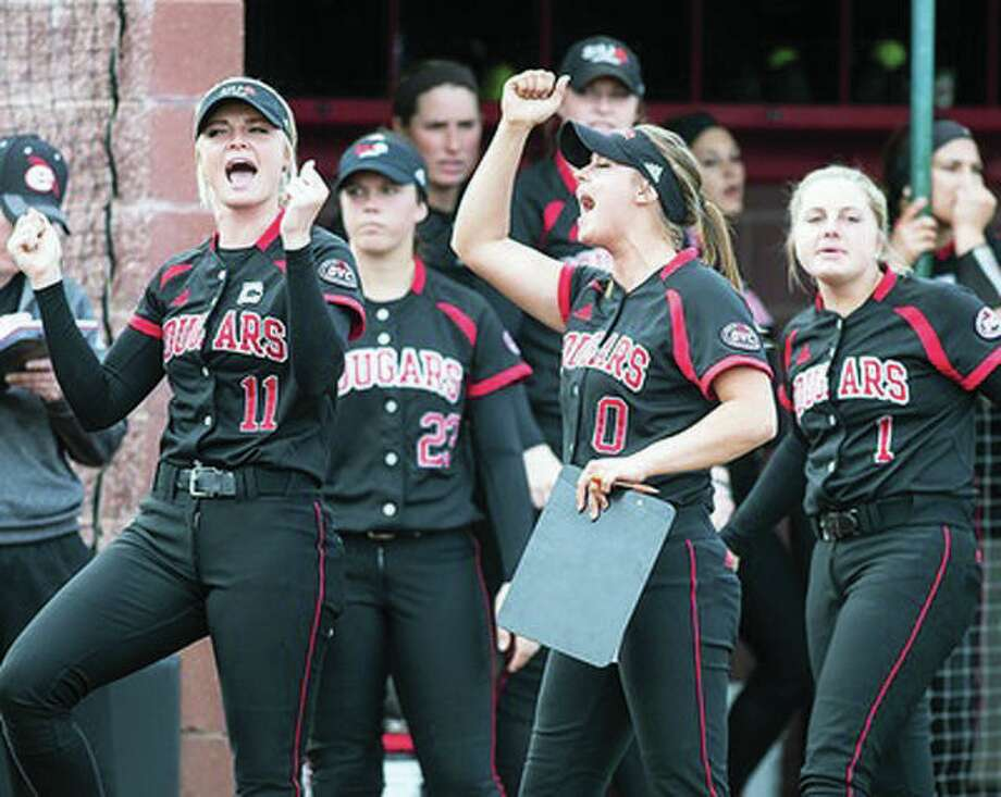 The SIUE softball team has been picked to finish fourth in the Ohio Valley Conference race this season in a preseason poll. Above, SIUE players celebrate a 2017 victory. Photo: SIUE Athletics