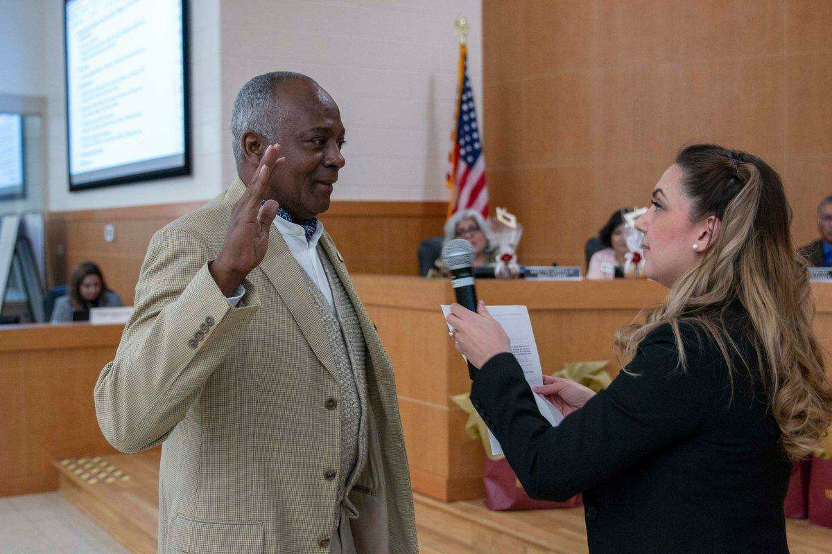 Timothy Payne, appointed by the state education commissioner to the Edgewood ISD board in 2017, was sworn in as an Edgewood trustee Tuesday evening.