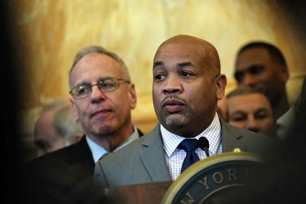 Speaker Carl Heastie speak during a news conference to announce the pending passage of the Jose Peralta New York State Dream Act on Wednesday Jan. 23, 2019, at the Capitol in Albany, N.Y. (Will Waldron/Times Union)