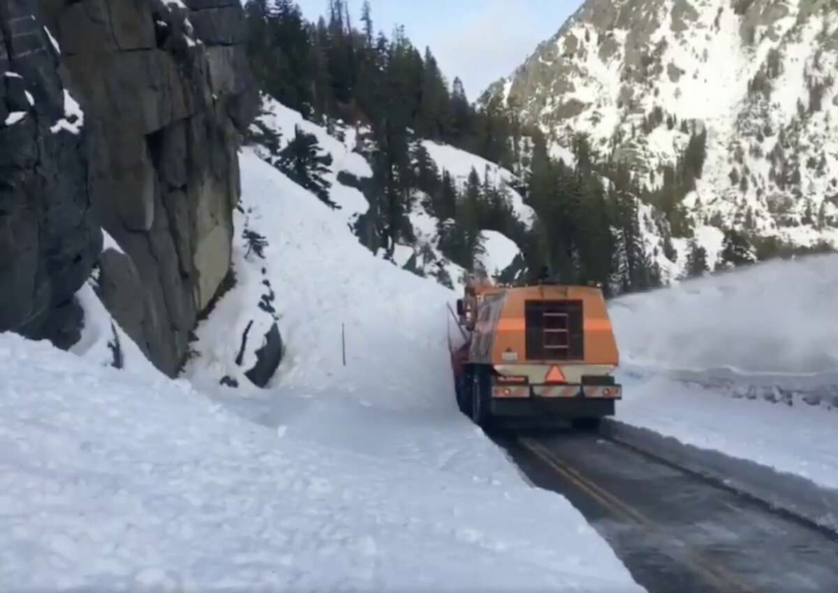 A snowplow clears Highway 89 around Emerald Bay in Lake Tahoe. The road reopened on Jan. 22, 2019, after a big snow dump.