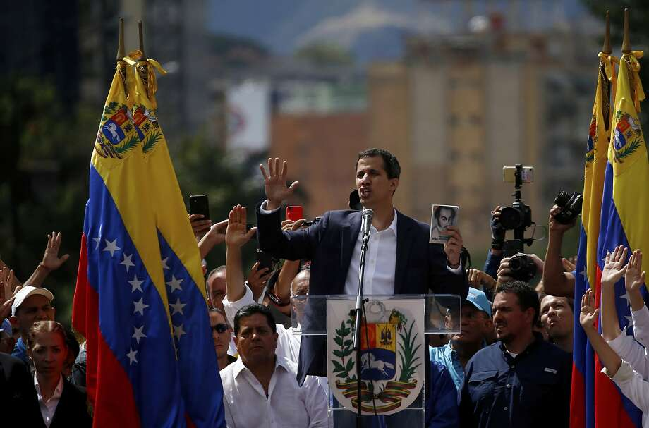 Juan Guaidó declared himself the legitimate president, cheered on by thousands of supporters in Caracas. Photo: Fernando Llano / Associated Press