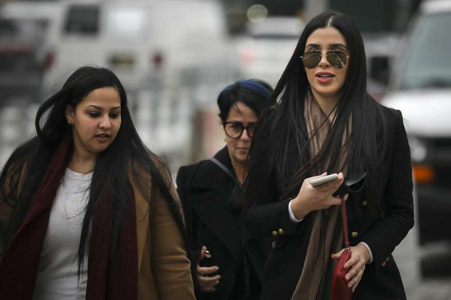 Emma Coronel Aispuro (R), the wife of Joaquin 'El Chapo' Guzman, arrives at the U.S. District Court for the Eastern District of New York, January 23, 2019 in New York City. El Chapo is accused of trafficking over 440,000 pounds of cocaine, in addition to other drugs, and exerting power through murders and kidnappings as he led the Sinaloa Cartel. Prosecutors say they expect to rest their case soon in the trial that began in November. Photo: Drew Angerer/Getty Images