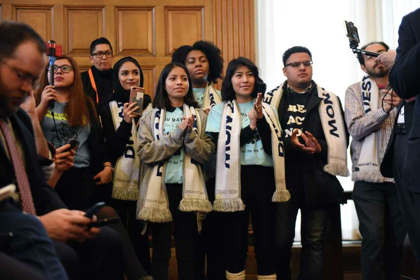Immigration advocates, including many 'Dreamers,' attend a press conference to announce the pending passage of the Jose Peralta New York State Dream Act on Wednesday Jan. 23, 2019, at the Capitol in Albany, N.Y. (Will Waldron/Times Union)