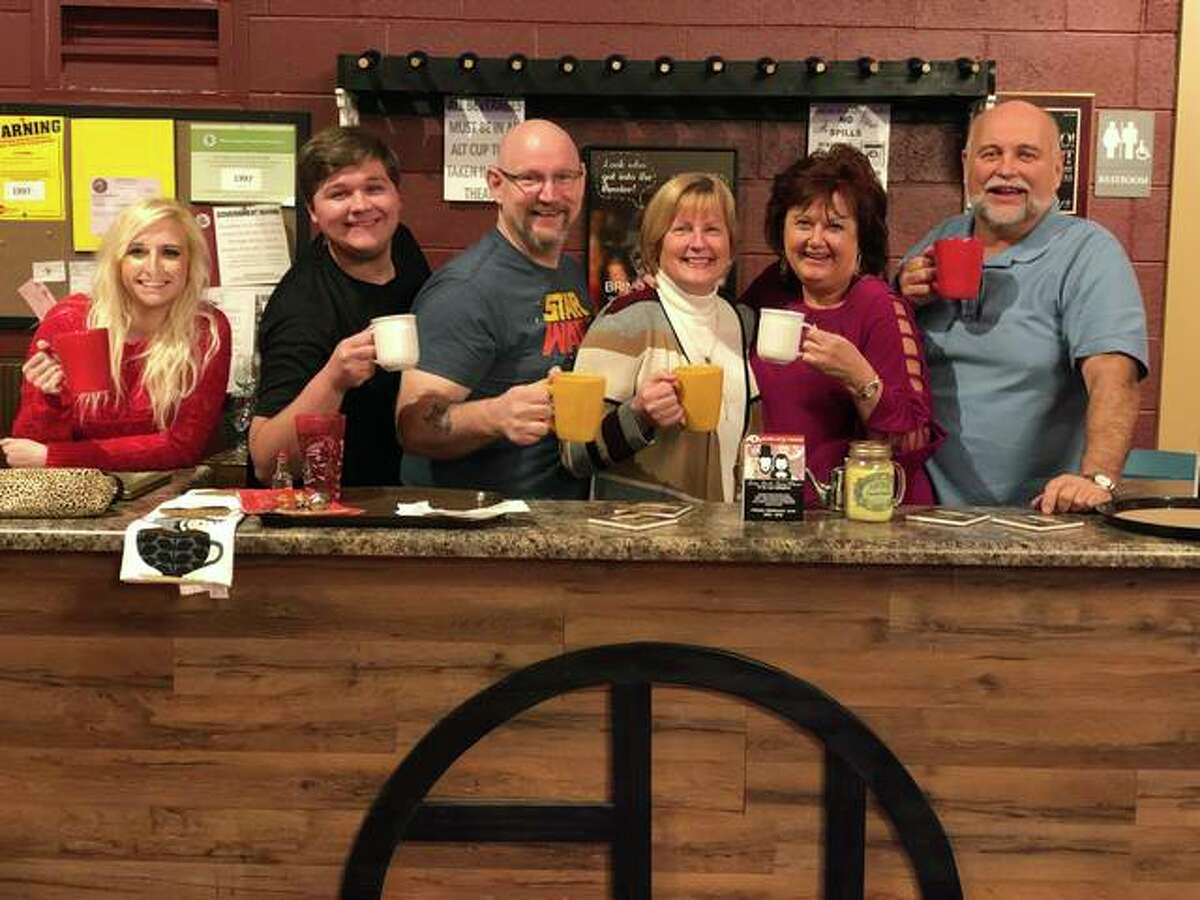 """The """"Maybe This Time"""" cast at the Alton Little Theater coffee bar."""