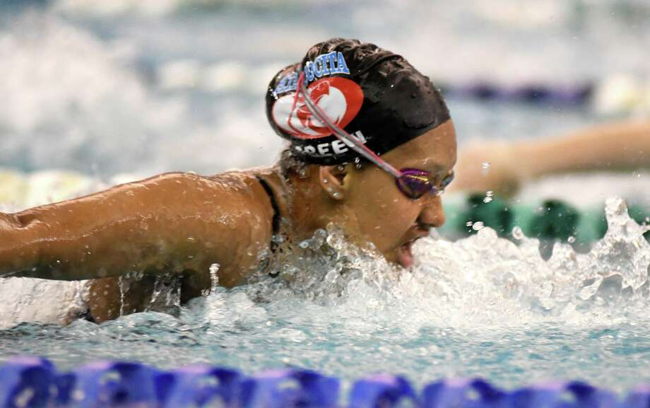 Atascocita sophomore Alexia Green competes in the Girls 100 Yard Butterfly at the 2019 District 21-6A Swimming & Diving Championships at the Galena Park ISD Natatorium on Jan. 19, 2019. Photo: Jerry Baker, Houston Chronicle / Contributor / Houston Chronicle