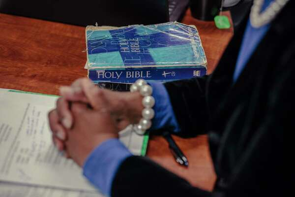 A copy of the Bible rests on a conference room table at Miracle Hill Ministries in Greenville, South Carolina, on Nov. 28, 2018.