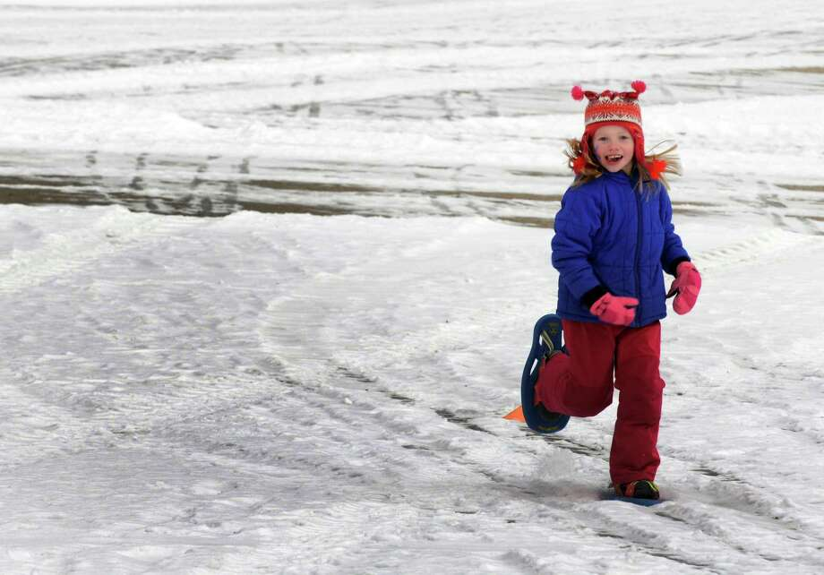 Five-year-old Lauren Sears snow shoes during the Grafton Lakes State Park and the Friends of Grafton Lakes State Park 31st Annual Winter Festival on Saturday Jan. 23, 2016 in Grafton, N.Y. (Michael P. Farrell/Times Union) Photo: Michael P. Farrell / 10035073A