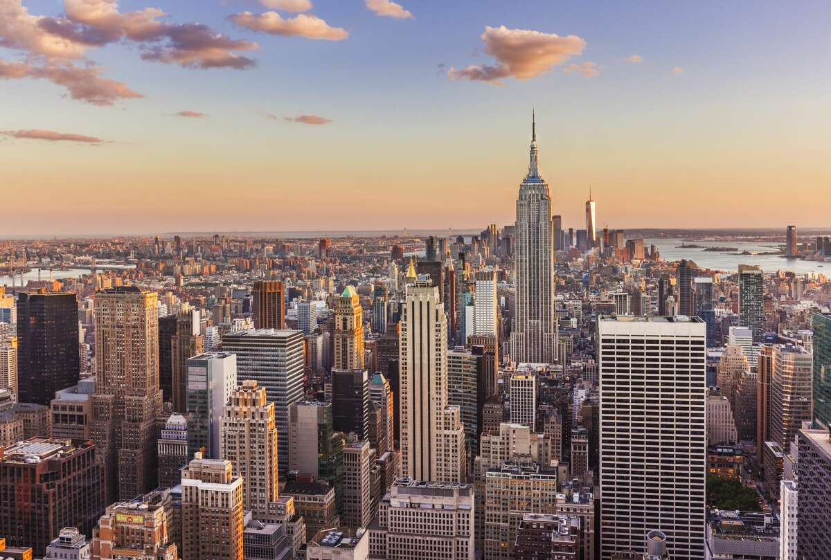 Manhattan skyline, New York skyline, Empire State Building, sunset, New York City, United States of America, North America