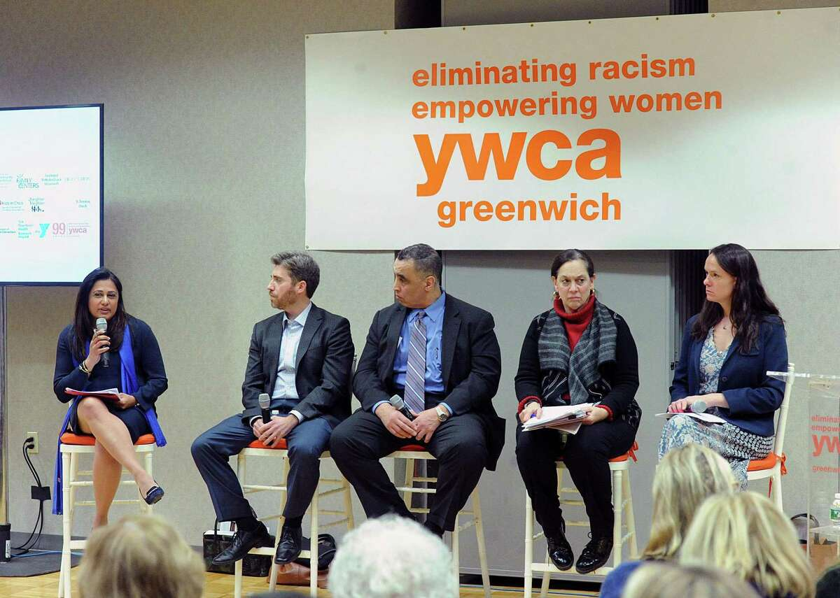 At left, Krishna Patel, a former federal prosecutor, moderates the 2018 YWCA of Greenwich panel discussion and community conversation about the battle against child sex trafficking and human trafficking. The panel participants are starting second from left, Vincent Nappo, lawyer; Rod Khattabi, former head of Homeland Security for the State of Connecticut; Joette Katz, former commissioner of the Connecticut Department of Children and Families and Jillian Gilchrest, former chair of the Connecticut Trafficking in Persons Council.