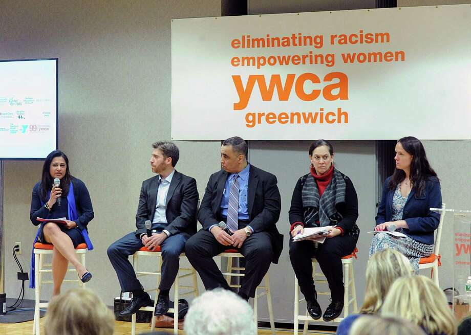 At left, Krishna Patel, a former federal prosecutor, moderates the 2018 YWCA of Greenwich panel discussion and community conversation about the battle against child sex trafficking and human trafficking. The panel participants are starting second from left, Vincent Nappo, lawyer; Rod Khattabi, former head of Homeland Security for the State of Connecticut; Joette Katz, former commissioner of the Connecticut Department of Children and Families and Jillian Gilchrest, former chair of the Connecticut Trafficking in Persons Council. Photo: Bob Luckey Jr. / Hearst Connecticut Media / Greenwich Time