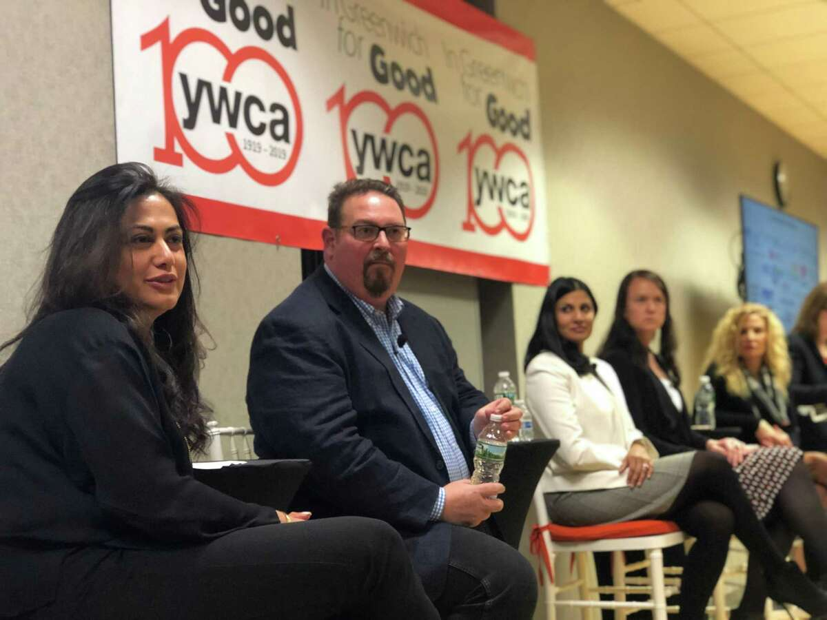 From left: Former federal prosecutor Krishna Patel, former U.S. State Department Ambassador-at-Large Luis C. deBaca, CEO of GoodOps Divya Demato, State Rep. Jillian Gilchrest (D-18) and Connecticut Department of Labor Supervisor of Wage and Workplace Standards Resa Spaziani speak about the state's labor trafficking at Greenwich YWCA on Wednesday night.