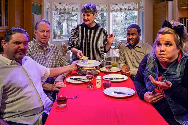 """Billy Chmielewski, left, Kirk Mashue, Barbara Brandt, Kendrix Edwards and Marla Miller portray a family going through changes over the decades in Pasadena Little Theatre's production of """"Making God Laugh."""""""