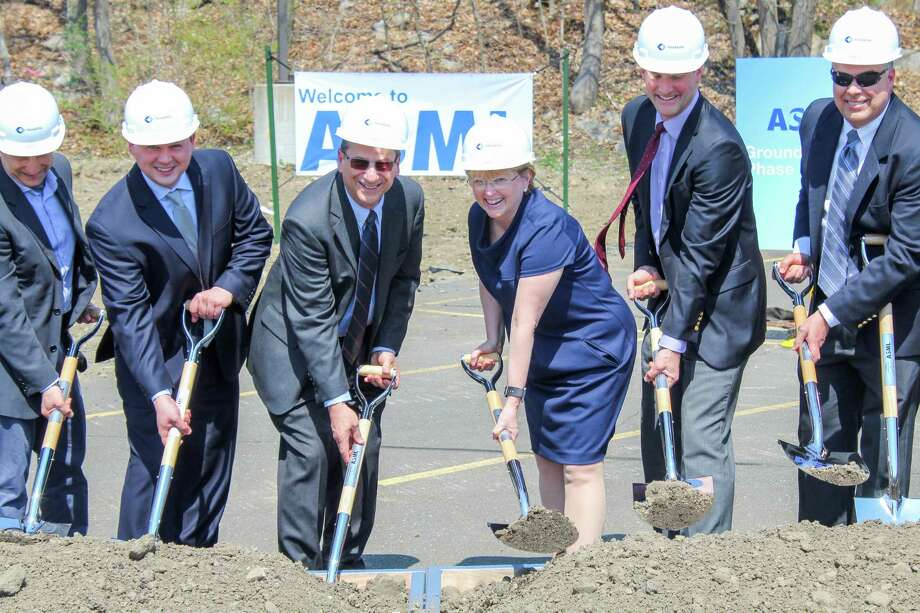 Employees and guests gather at ASML along Route 7 in Wilton on Thursday, May 3, 2018. The technology manufacturer broke ground on the first of three expansion rounds Photo: Brittney Wolff Zatezalo / Contributed Photo / Norwalk Hour contributed