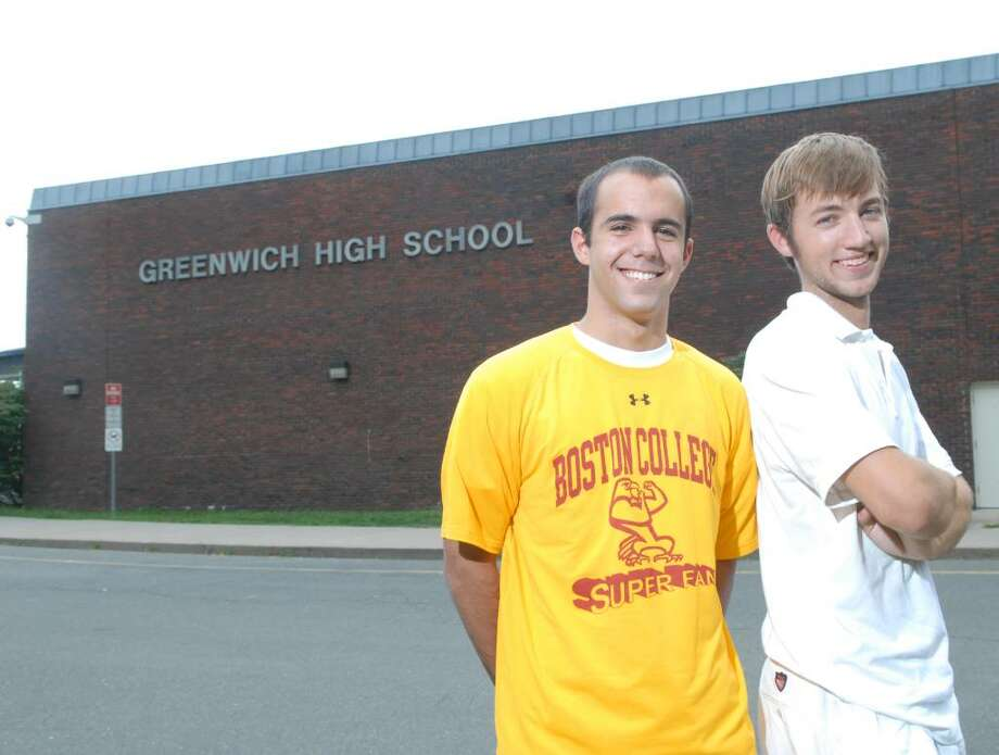 Greenwich High School graduates, class of 2010, Nacho Assalini, left and Hans Christian Thalheim, right, posed in front of Greenwich High School, Wednesday afternoon, July 21, 2010.  Assalini will be attending Boston College in the fall and Thalheim will be heading to UConn. Photo: Bob Luckey / Greenwich Time