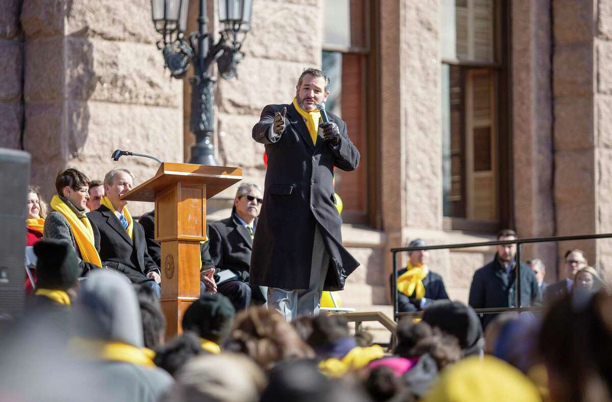 Senator Ted Cruz addresses the crowd during the School Choice Rally at the Texas State Capitol on January 23, 2019 in Austin, Texas. (Thao Nguyen/Special Contributor)