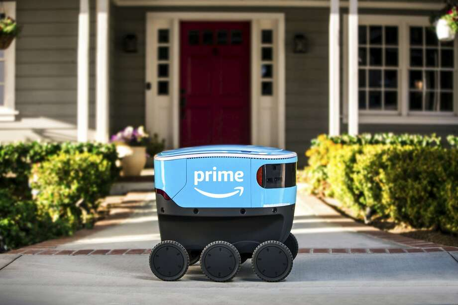 Amazon is not releasing the specific location of its test runs of Scout delivery robots. The small self-driving vehicles are designed to bring packages to a shopper's doorstep. Photo: Amazon