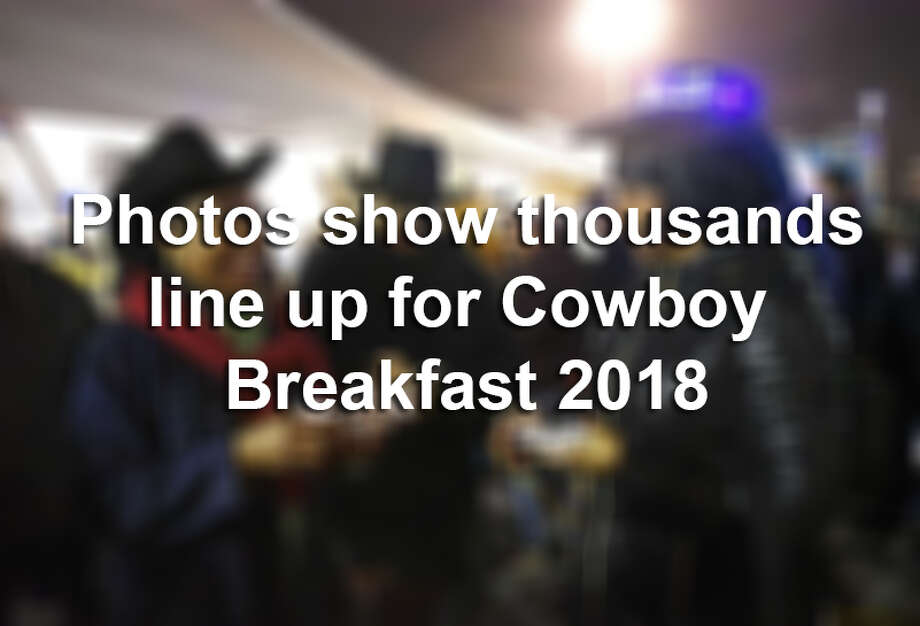 Photos show thousands line up for Cowboy Breakfast 2018. Photo: Billy Calzada