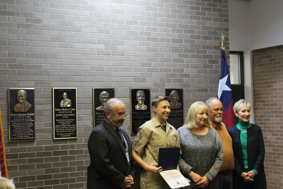Cadet Amy Alexandra Pitre, 28 of Beaumont, received a scholarship from the Officer Bryan Hebert Memorial Foundation Wednesday afternoon at the Beaumont Police Station. Photo: Erica Apodaca