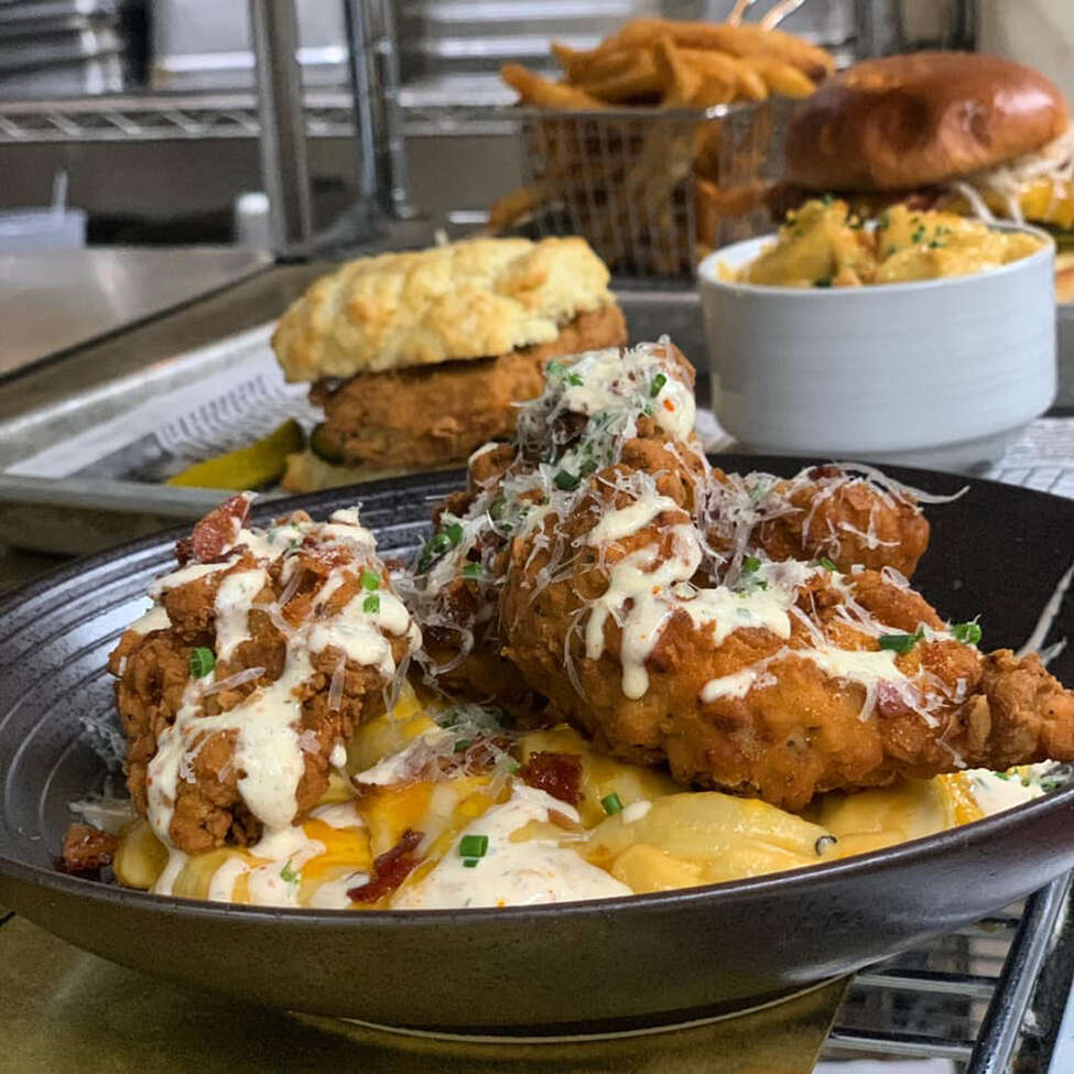 Among the new items on the lunch menu at The Cuckoo's Nest in Albany are Soul Bowls, with a base of mac-n-cheese or gritts and toppings including fried chicken strips, pulled pork or Coca-Cola-braised short ribs. (Provided photo.)