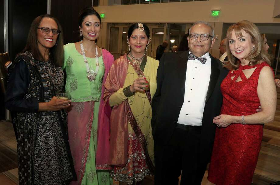Attendees at the gala dinner for last weekends Albany Chefs' Food & Wine Festival: Wine & Dine for the Arts included, from left, Ila Patel, Subrina Dhammi, Angana Patel, festical board member Neerav Patel and News Channel 13 co-anchor and event emcee Benita Zahn. The gala for the 10th annual festival was held at the Albany Capital Center in Albany. (Photo by Joe Putrock/Special to the Times Union) Photo: Joe Putrock / Joe Putrock