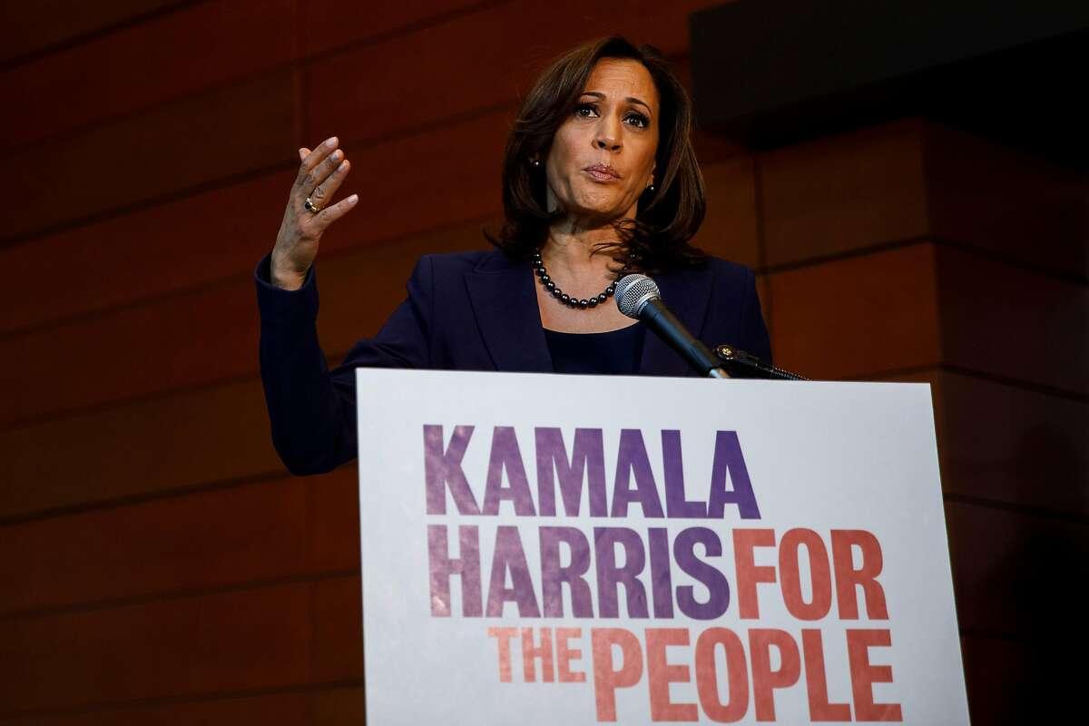 Sen. Kamala Harris speaks at a news conference at Howard University in Washington, Jan. 21, 2019.