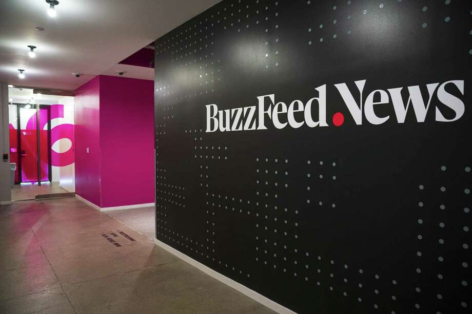 A BuzzFeed News logo adorns a wall inside BuzzFeed headquarters, Dec. 11 in New York City. Special Counsel Robert Mueller's office has disputed a recent BuzzFeed report that President Trump instructed his attorney Michael Cohen to lie to Congress. Photo: Drew Angerer /TNS / Getty Images North America