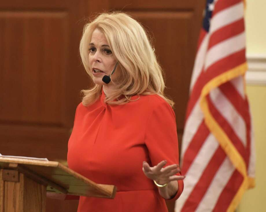 "Greenwich resident and former New York Lt. Gov. Betsy McCaughey presents ""Beware of Health Policies That Will Shorten Your Life"" during the Retired Men's Association's weekly speaker series at First Presbyterian Church in Greenwich, Conn. Wednesday, Jan. 23, 2019. McCaughey is an outspoken critic of the Affordable Care Act and author of ""Beating Obamacare."" Photo: Tyler Sizemore / Hearst Connecticut Media / Greenwich Time"