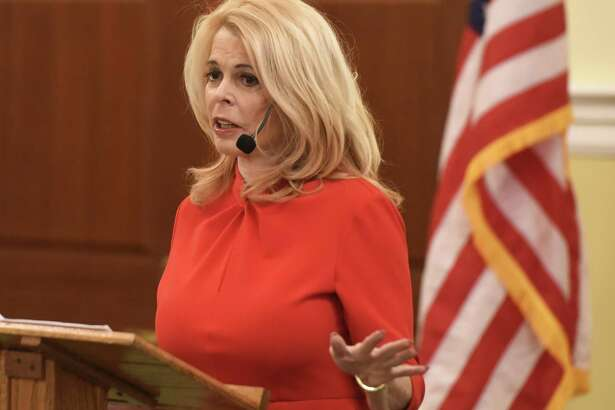 "Greenwich resident and former New York Lt. Gov. Betsy McCaughey presents ""Beware of Health Policies That Will Shorten Your Life"" during the Retired Men's Association's weekly speaker series at First Presbyterian Church in Greenwich, Conn. Wednesday, Jan. 23, 2019. McCaughey is an outspoken critic of the Affordable Care Act and author of ""Beating Obamacare."""