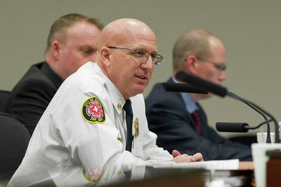 Conroe Fire Chief Ken Kreger speaks during a Conroe City Council workshop meeting at Conroe Tower, Wednesday, Jan. 23, 2019, in Conroe. The council revisited the issue of street width for residential development after it initally decided to allow narrower streets in a 3-2 vote on Jan. 6. Photo: Jason Fochtman, Houston Chronicle / Staff Photographer / © 2019 Houston Chronicle