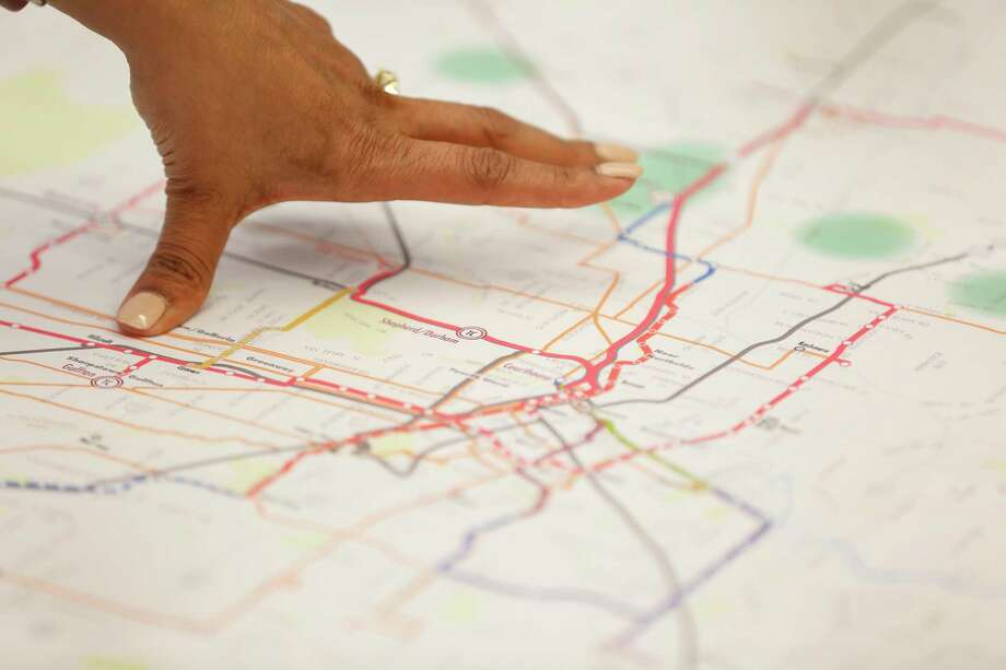 Priya Zachariah Metro manager of long range planning points to a MetroNext map as she talked to members of the Houston Chronicle Editorial Board Thursday, Jan. 10, 2019, in Houston. Photo: Steve Gonzales, Houston Chronicle / Staff Photographer / © 2019 Houston Chronicle